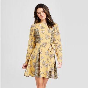 NWOT yellow floral print dress sz L